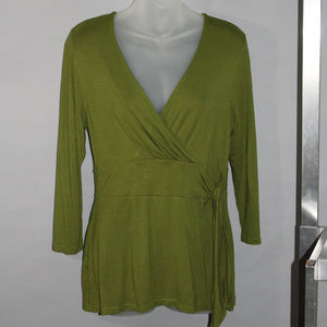 Tunic top, green, knot front, vee neck, size S